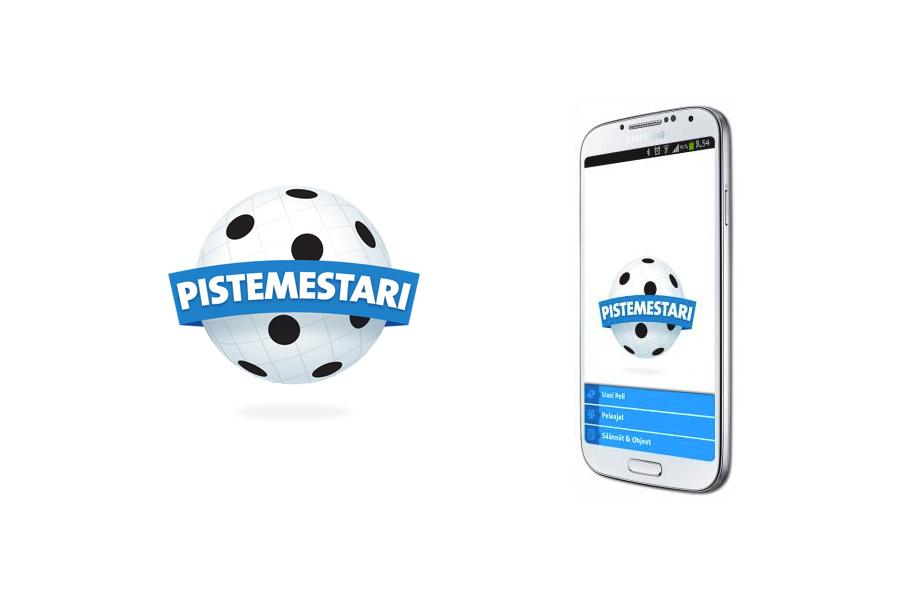Pistemestari-pelin logo ja kännykkä, johon on asennettu Pistemestari-sovellus.