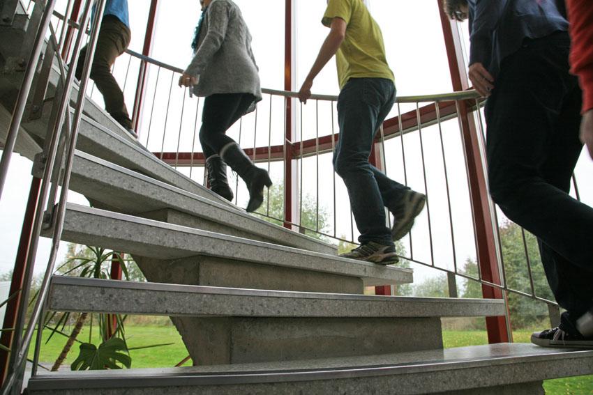 Neljä henkilöä nousee ylös portaita.